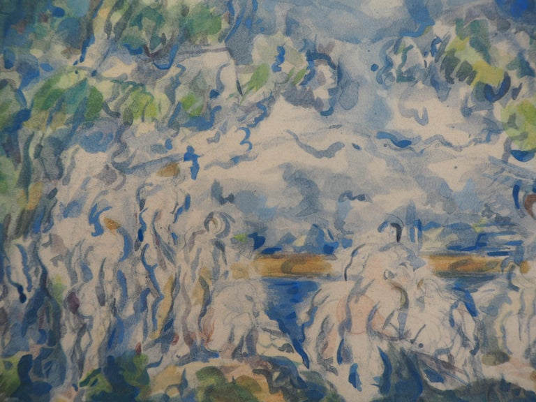 Bathers with Sainte Victoire Mountain - Lithograph and Stencil Watercolor, 1947 - Print by After Paul Cezanne