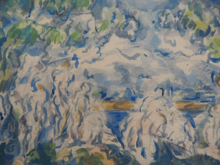 Bathers with Sainte Victoire Mountain - Lithograph and Stencil Watercolor, 1947 - Impressionist Print by After Paul Cezanne