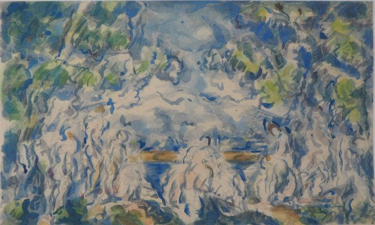 After Paul Cezanne Landscape Print - Bathers with Sainte Victoire Mountain - Lithograph and Stencil Watercolor, 1947
