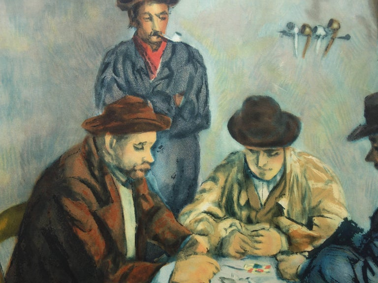 Card Players - Etching and aquatint engraved by Jacques Villon / 200ex - Beige Figurative Print by After Paul Cezanne