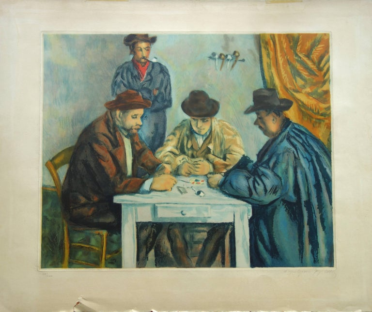 After Paul Cezanne Figurative Print - Card Players - Etching and aquatint engraved by Jacques Villon / 200ex