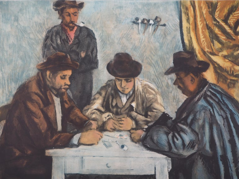 Card Players - Etching and aquatint engraved by Jacques Villon - Impressionist Print by After Paul Cezanne