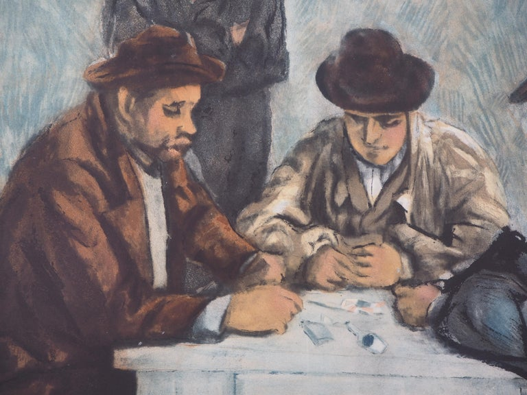 Card Players - Etching and aquatint engraved by Jacques Villon - Gray Figurative Print by After Paul Cezanne