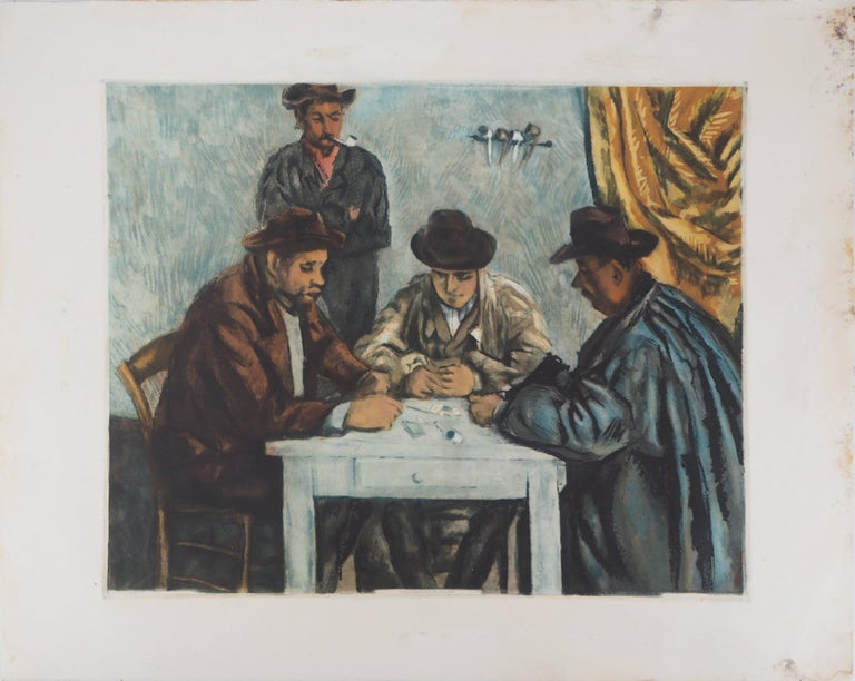 Card Players - Etching and aquatint engraved by Jacques Villon For Sale 4