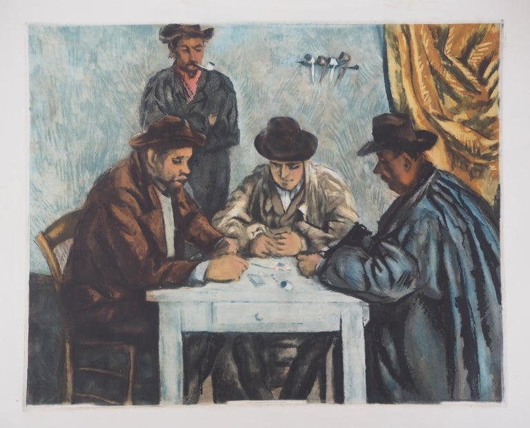 After Paul Cezanne Figurative Print - Card Players - Etching and aquatint engraved by Jacques Villon