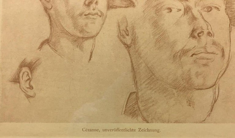 Double Portrait (1906)-Offset Lithograph, edition of 1000, with COA - Brown Portrait Print by After Paul Cezanne