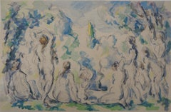 Eight Nude Bathers in a Landscape - Lithograph and Stencil Watercolor, 1947