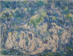 Group of Bathers Resting in a Forest - Lithograph and Stencil Watercolor, 1947