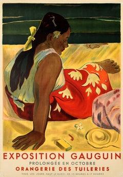 Original Vintage Art Exhibition Poster Eugene Henri Paul Gauguin Tahitian Women