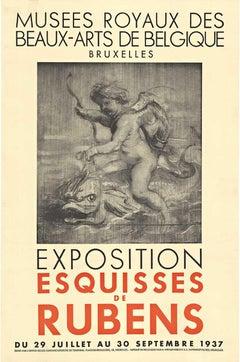 Exposition Esquisses de Rubens 1937 Exposition linen backed vintage poster