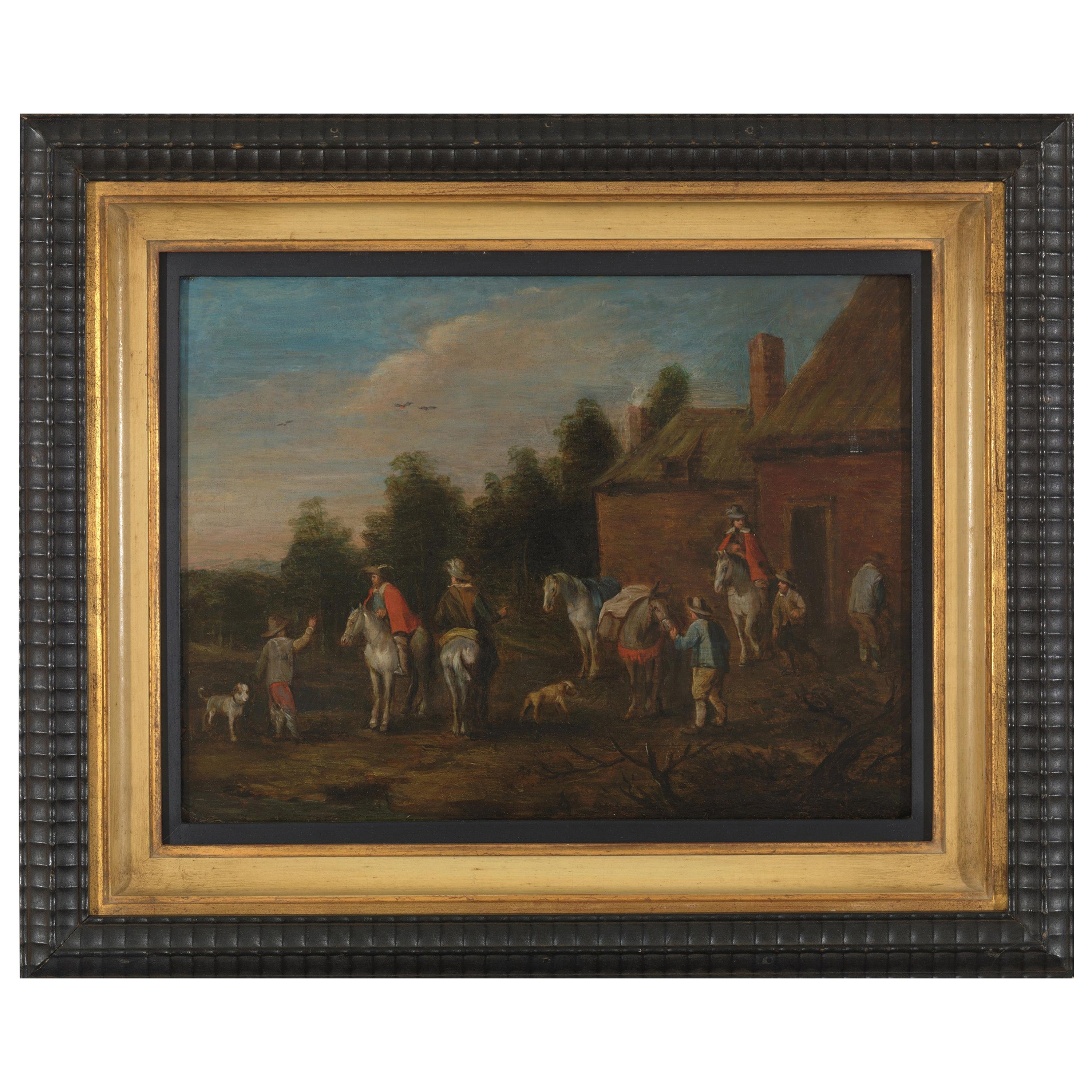 After Philips Wouwerman, Stop of the Travelers, Oil on Panel
