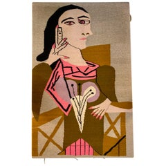 After Picasso Hand Stitched Wool Tapestry Portrait of a Woman