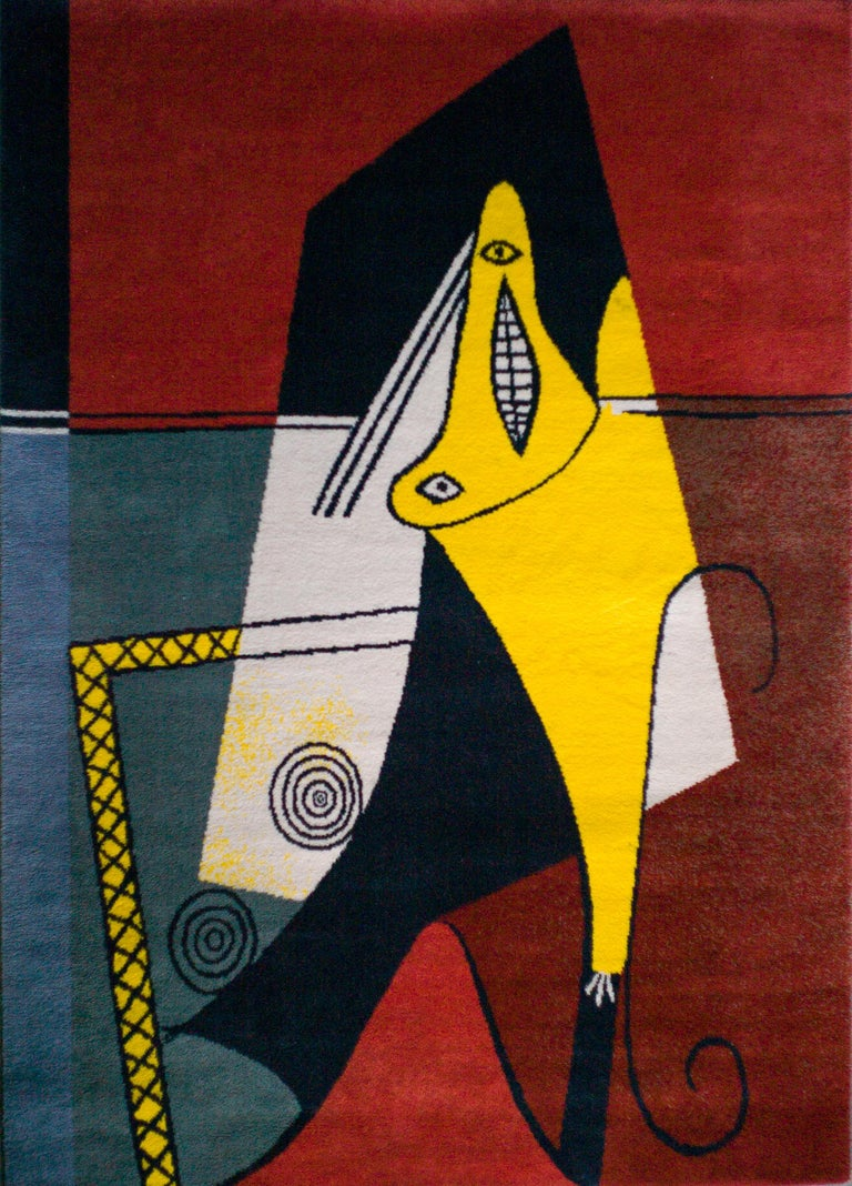 Modern After Picasso Large Wool Rug,