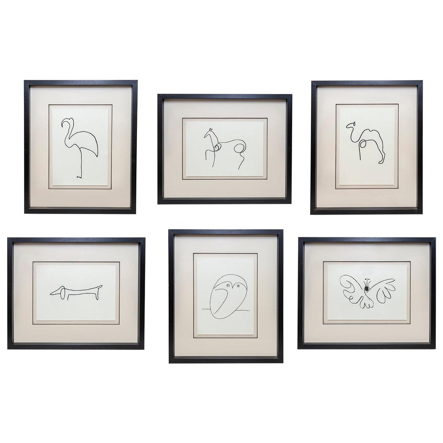 After Picasso Line Drawing Owl Set of 6 Butterfly Dog Horse Camel Flamingo Print