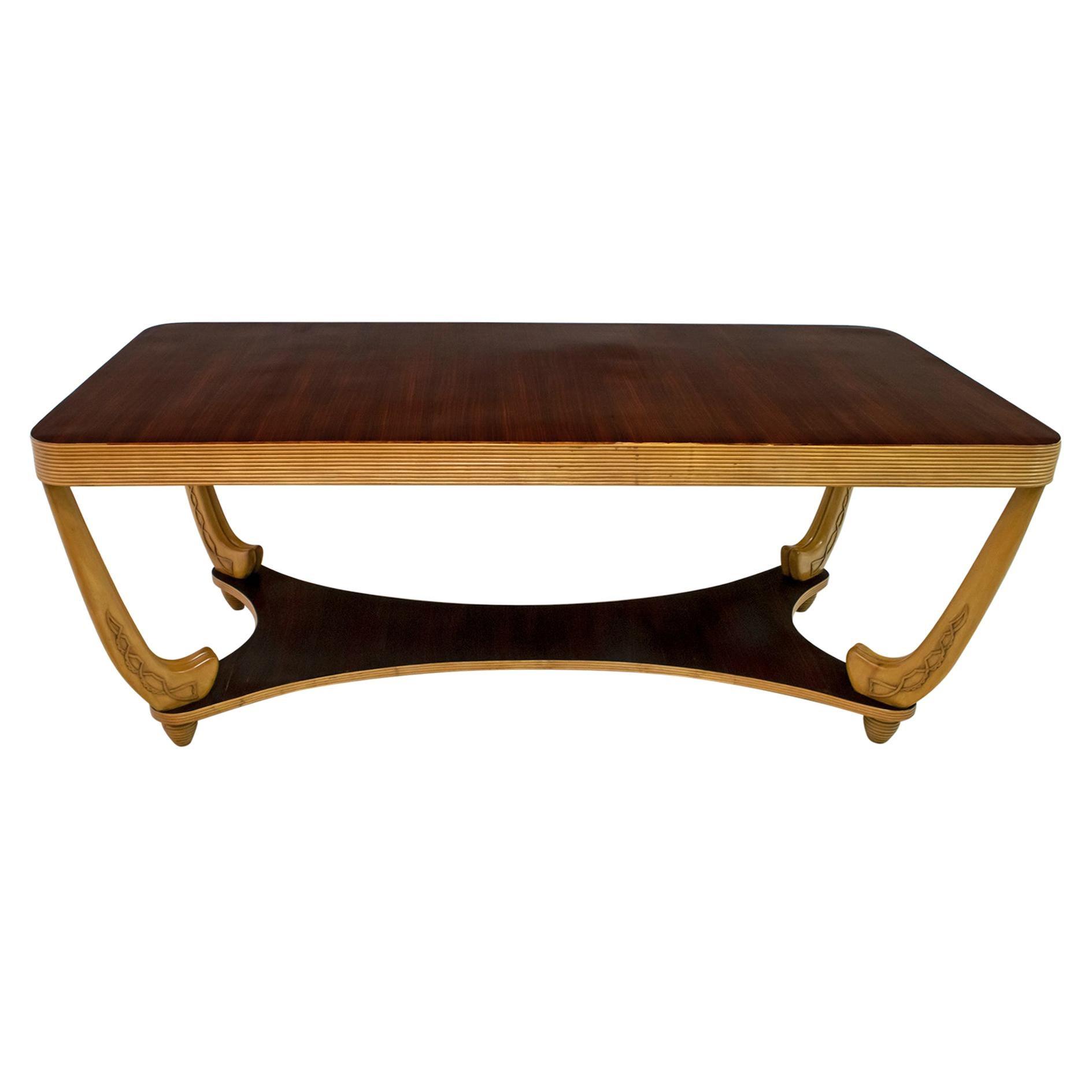 After Pier Luigi Colli Midcentury Italian Maple and Walnut Table, 1940s