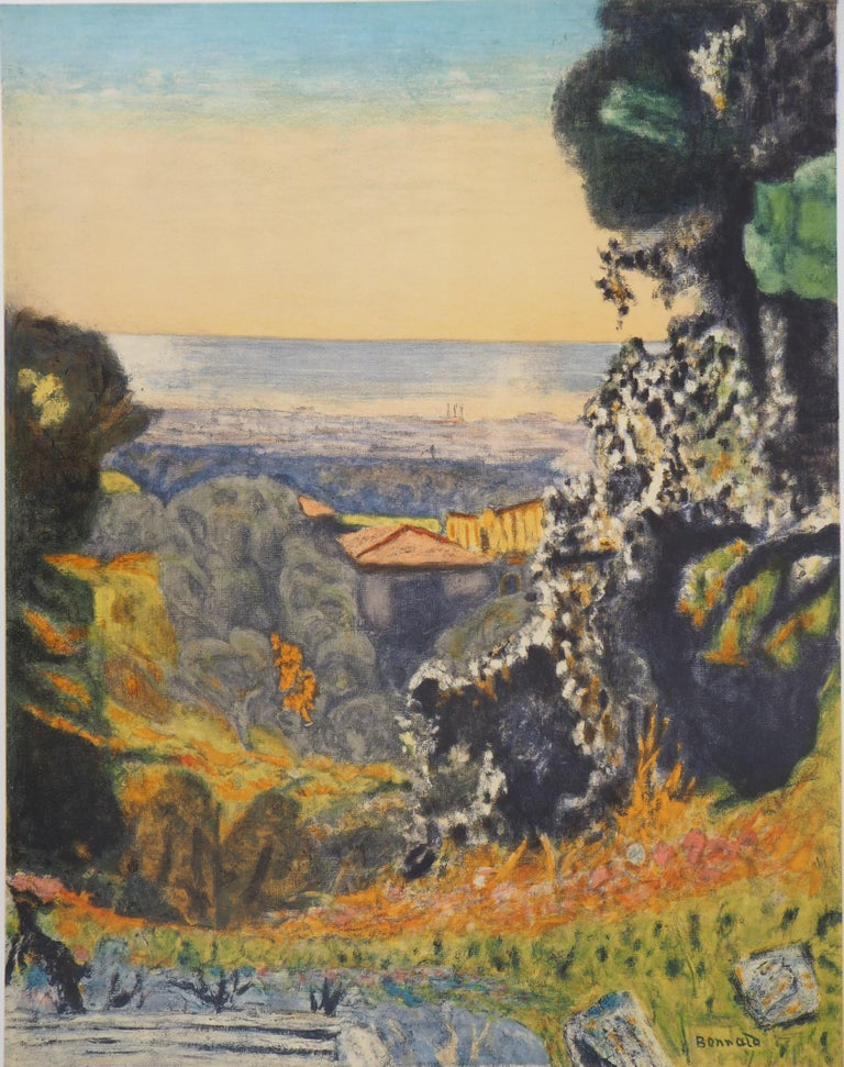 Landscape in Provence - Lithograph (Mourlot 1956) - Post-Impressionist Print by (after) Pierre Bonnard