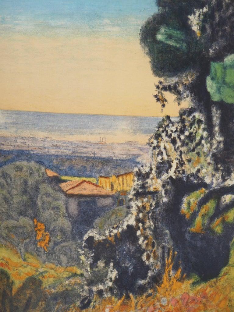 Landscape in Provence - Lithograph (Mourlot 1956) - Brown Landscape Print by (after) Pierre Bonnard