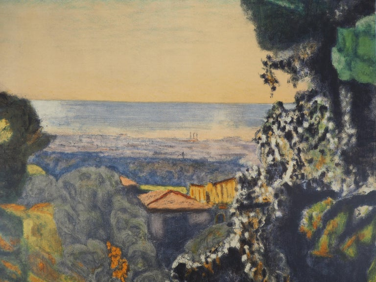 Pierre BONNARD (after) Landscape in Provence  Lithograph after a painting (Mourlot workshop) Printed signature in the plate On paper 74 x 48 cm (c. 30 x 19 in)  INFORMATION : Rare proof of the lithograph made for the exhibition