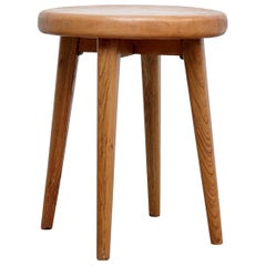 After Pierre Jeanneret, Mid-Century Modern, Wood French Side Table, circa 1960