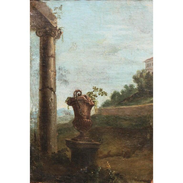 Belgian After Pieter van Bloemen Oil on Canvas Hunting & Ruins Scene For Sale