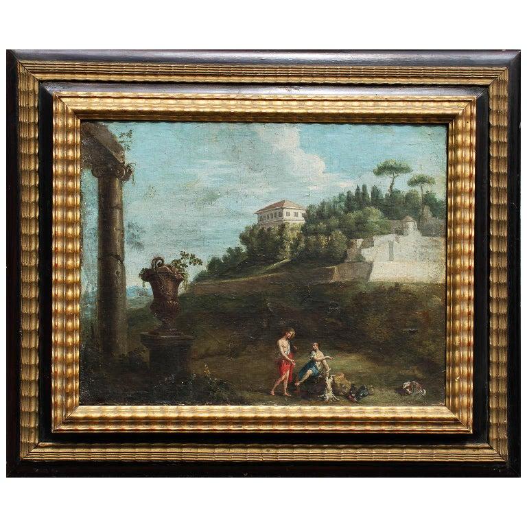 After Pieter van Bloemen Oil on Canvas Hunting & Ruins Scene For Sale