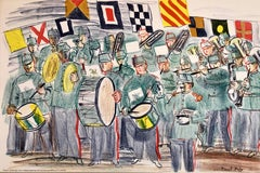 Raoul Dufy School Prints Colorful Modernist Drawing Lithograph Marching Band