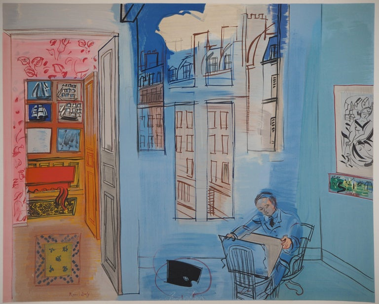 Selfportrait in the Workshop in Paris - Lithograph (Mourlot) - Print by (after) Raoul Dufy