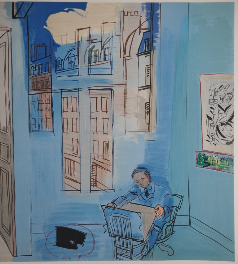 Selfportrait in the Workshop in Paris - Lithograph (Mourlot) - Gray Interior Print by (after) Raoul Dufy