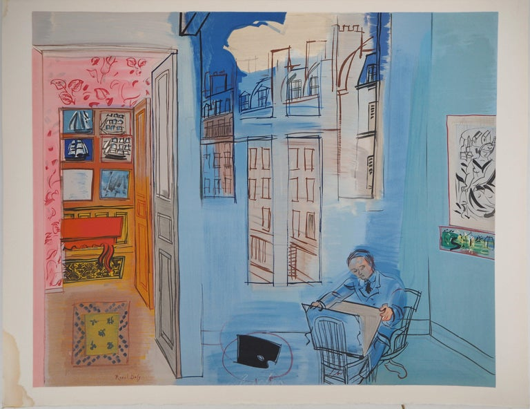 (after) Raoul Dufy Interior Print - Selfportrait in the Workshop in Paris - Lithograph (Mourlot)