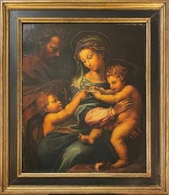 18th c. Portrait Oil Painting MADONNA DELLA ROSA After Raphael