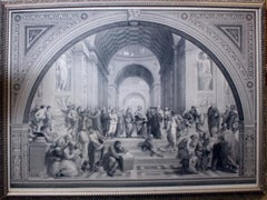 Antique 19th c. Engraving After Raphael THE SCHOOL OF ATHENS