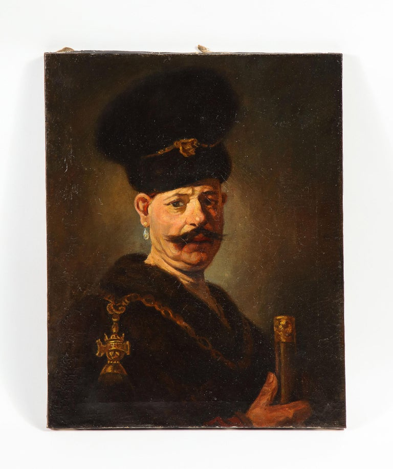 (After) Rembrandt, A Polish Nobleman, Oil on Canvas Painting, 19th Century - Black Figurative Painting by (After) Rembrandt van Rijn
