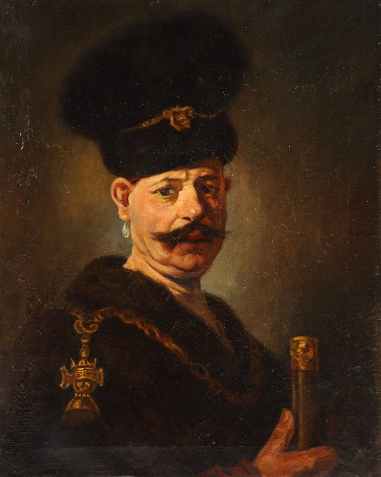 (After) Rembrandt, A Polish Nobleman, Oil on Canvas Painting, 19th Century.  A Polish Nobleman is a 1637 painting by Rembrandt depicting a man in a costume of Polish szlachta (nobility). The identity of the subject of the painting is unclear, and
