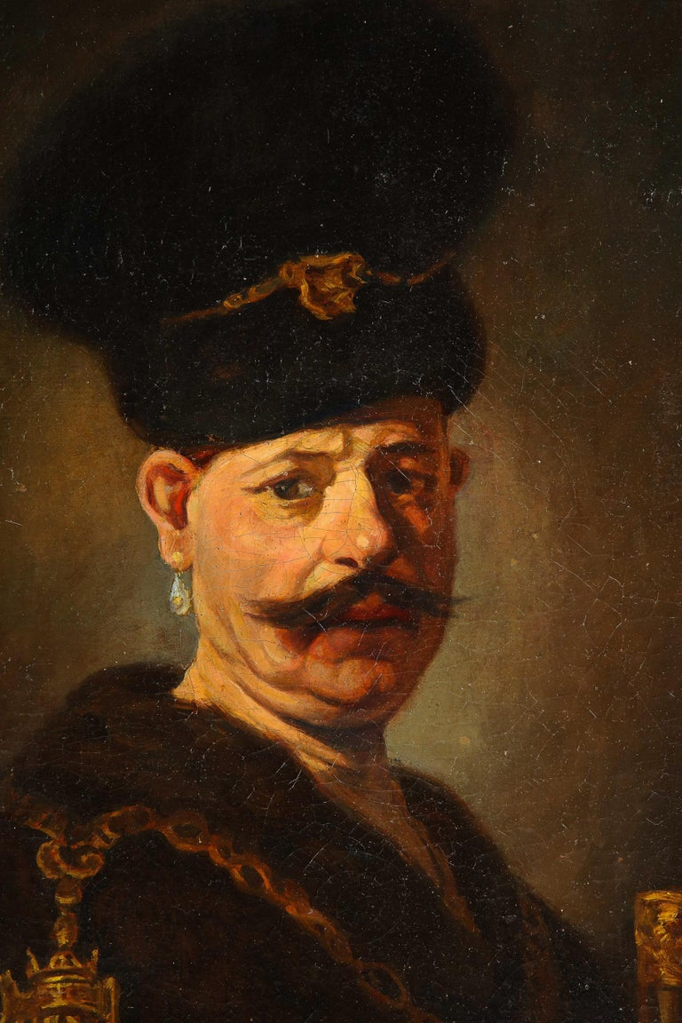 (After) Rembrandt, A Polish Nobleman, Oil on Canvas Painting, 19th Century 1