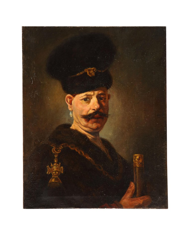 (After) Rembrandt van Rijn  Figurative Painting - (After) Rembrandt, A Polish Nobleman, Oil on Canvas Painting, 19th Century