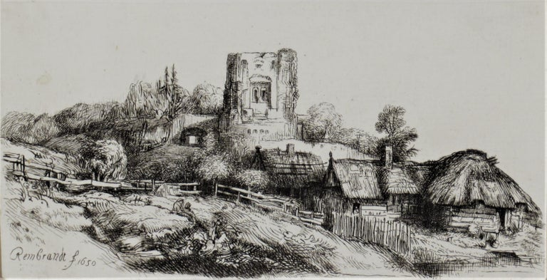 Landscape with a Squire Tower - Print by (After) Rembrandt van Rijn