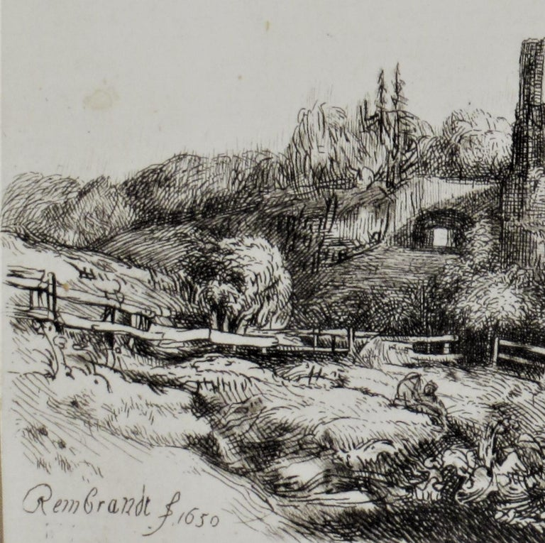 Landscape with a Squire Tower - Old Masters Print by (After) Rembrandt van Rijn