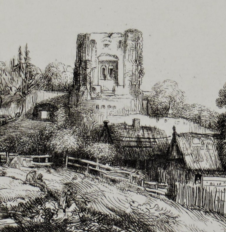 Landscape with a Squire Tower - Brown Figurative Print by (After) Rembrandt van Rijn