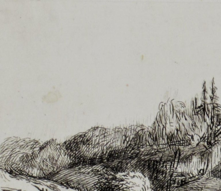 Artist:  After Rembrandt Van Rijn (Dutch, 1606-1669) Title:  Lanscape with a Squire Tower Year:  Created 1650, this is an early 19th century impression Medium:Etching, drypoint Paper:  Laid paper Image size:  3.05 x 6.10 inches Signature:  Signed