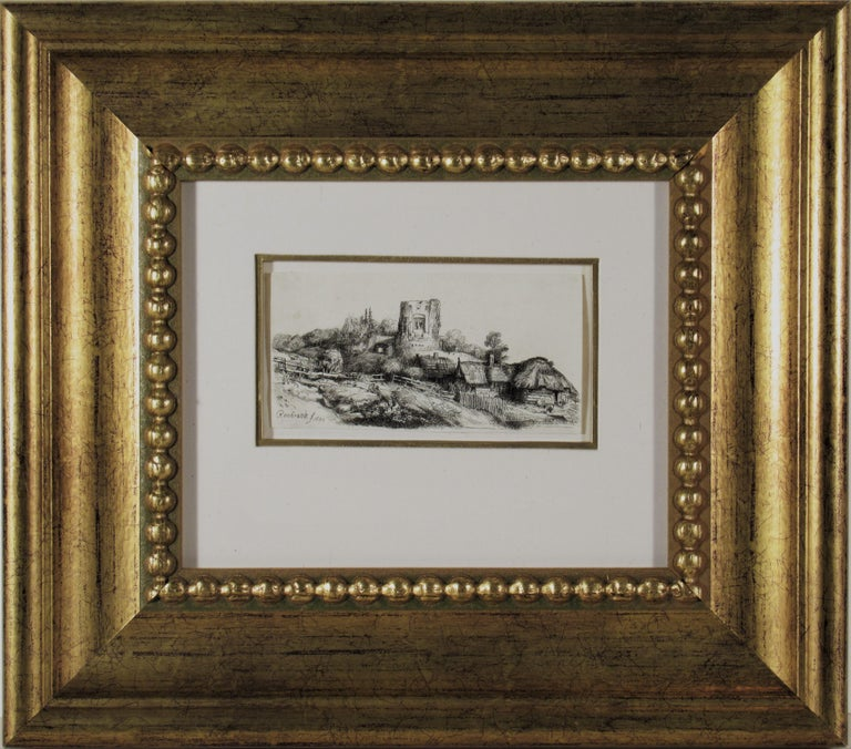 (After) Rembrandt van Rijn  Figurative Print - Landscape with a Squire Tower