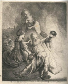 Lot and his Daughters - Original Etching After Rembrandt by J. J. van Vliet