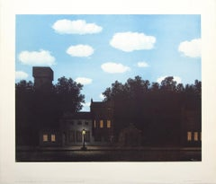 """""""Empire of Light, II."""" By René Magritte. Museum of Modern Art Color Print, 1959."""