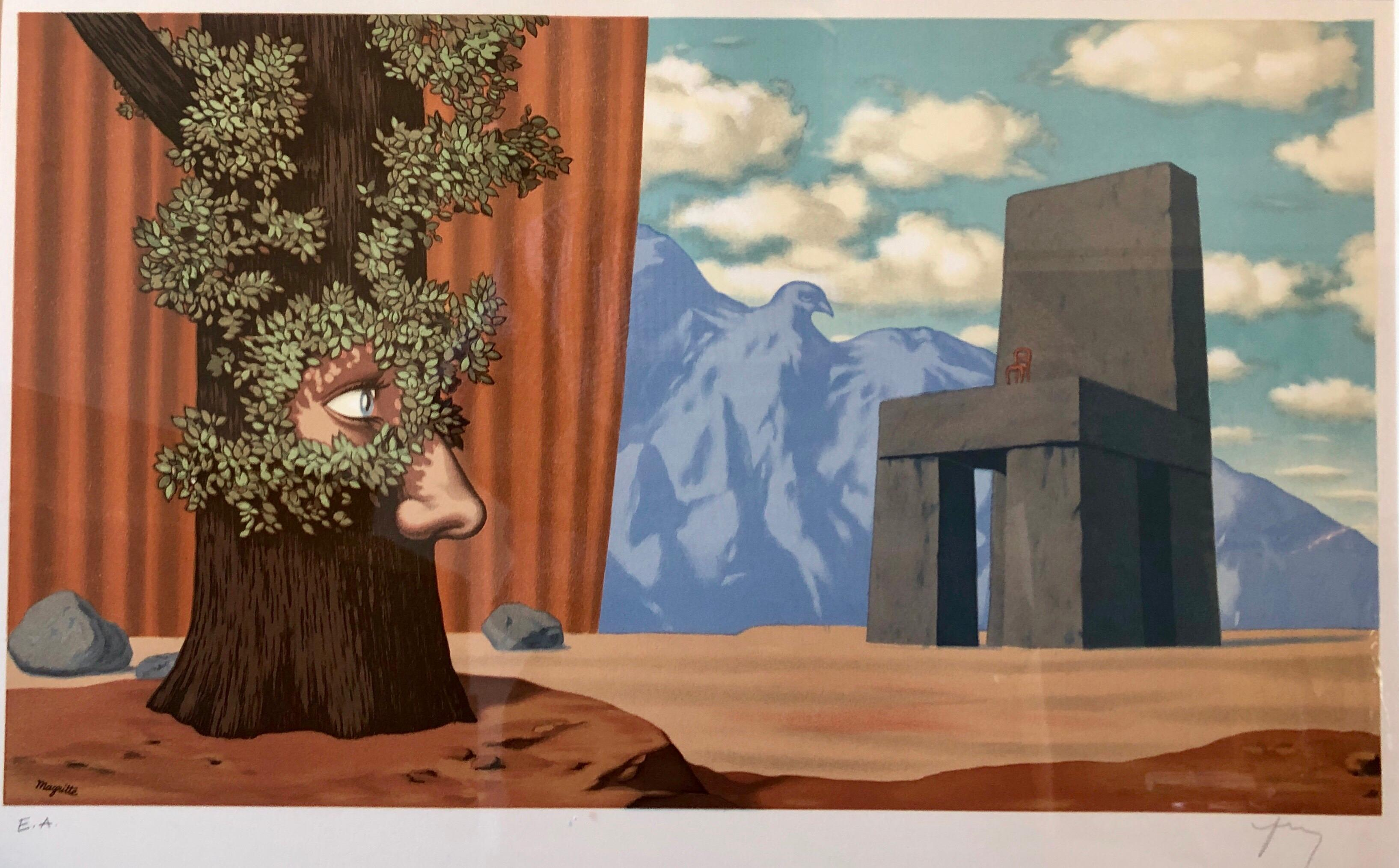 Surrealist Dream Lithograph Belgian Master Magritte Pencil Signed by Mourlot
