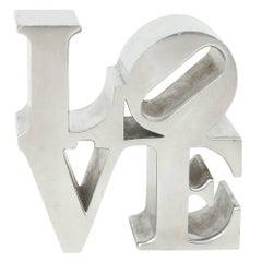 After Robert Indiana Love Sculpture Paperweight Chrome Nickel, 1970s