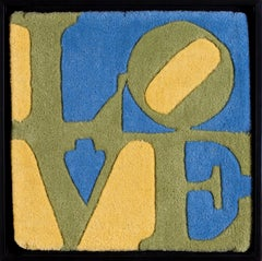Spring, mixed media 'Love' popart piece in green, yellow and blue by Indiana