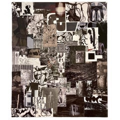 Black & White Collage on Board w. a Touch of Red