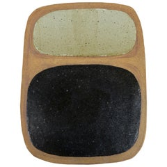"""After Rothko"" Carved Black and Grey Shapes On Bare Clay, Ceramic Wall Hanging"