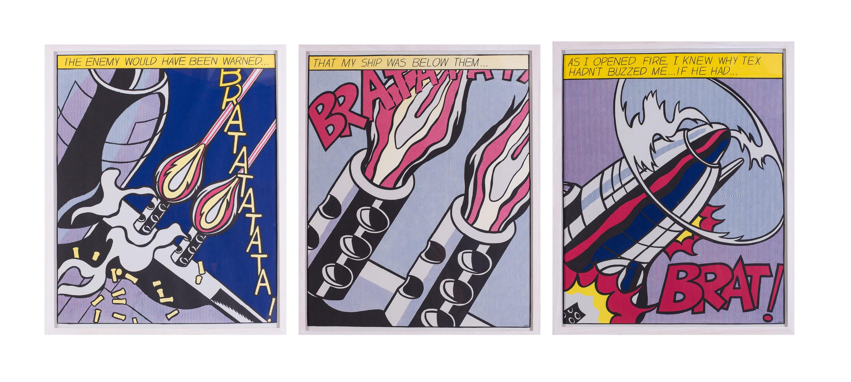 """3 x ROY LICHTENSTEIN /""""  AS I OPENEND FIRE /"""" POSTER TRIPTYCHON STEDELIJK MUSEUM"""