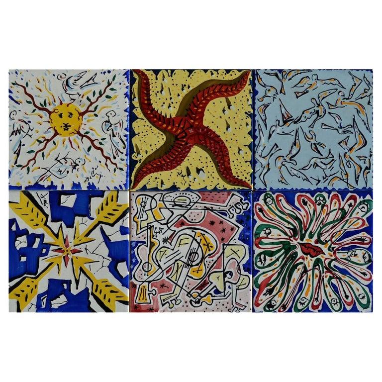 """After Salvador Dali """"La Suite Catalane"""" Set of 6 Dali Tiles, 1954 For Sale"""