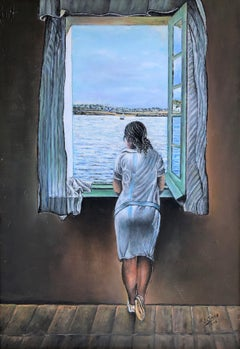 Woman at the window tribute to Dalí oil on canvas painting